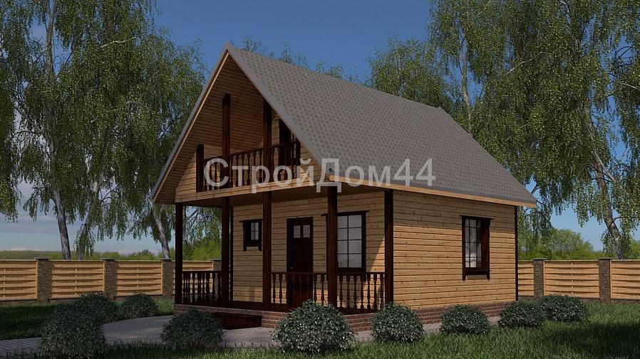 Купите дачный дом из бруса 6х8 м по проекту Д-4 по цене 415 000 рублей