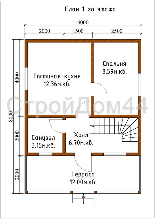 Купите дачный дом из бруса 6х8 м по проекту Д-4
