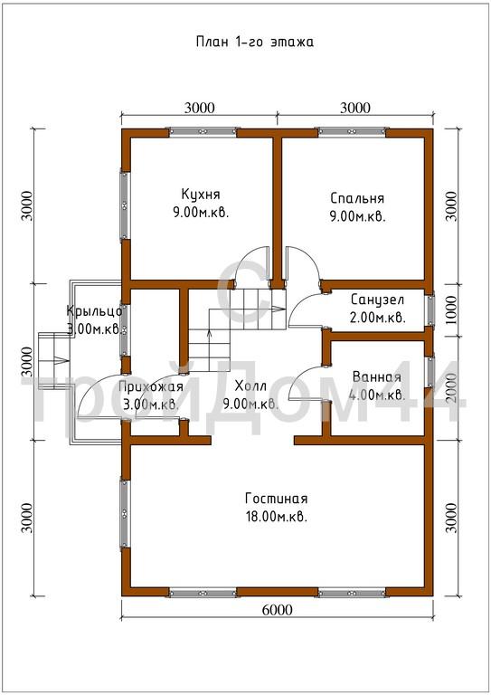 Купите дачный дом из бруса 6х8 м по проекту Д-6