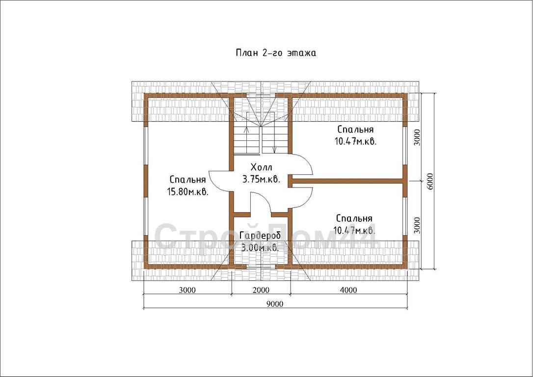 Купите дачный дом из бруса 6х9 м по проекту Д-1 по цене 600 000 рублей